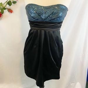 Ruby Rox Sweetheart Teal Sequin Fancy Mini Dress